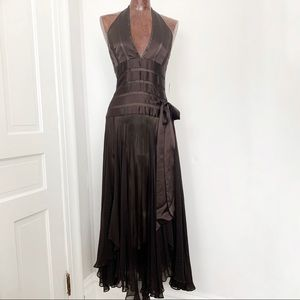 Cache Brown Mid-length Halter Dress 90s Size 10